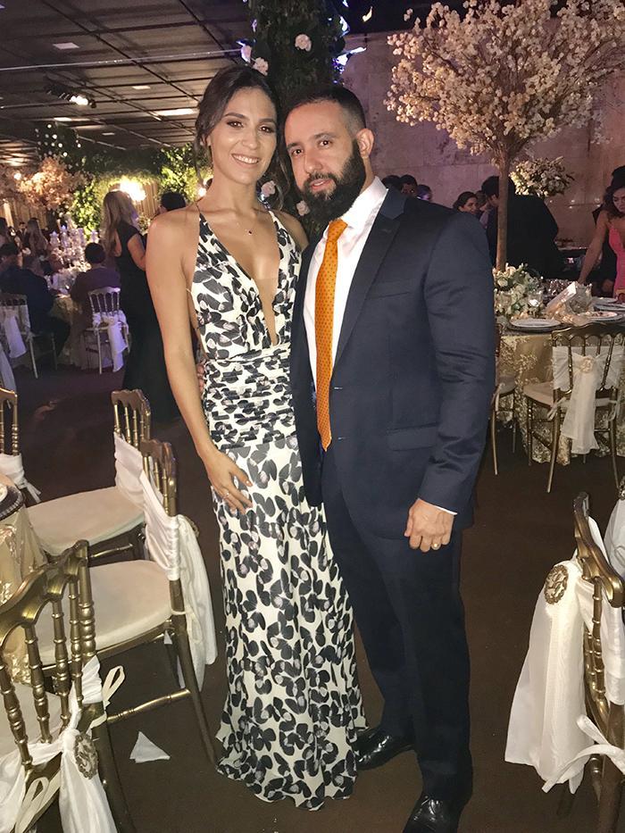 Kamila e Jalil Fraxe em noite elegante em Adrianópolis